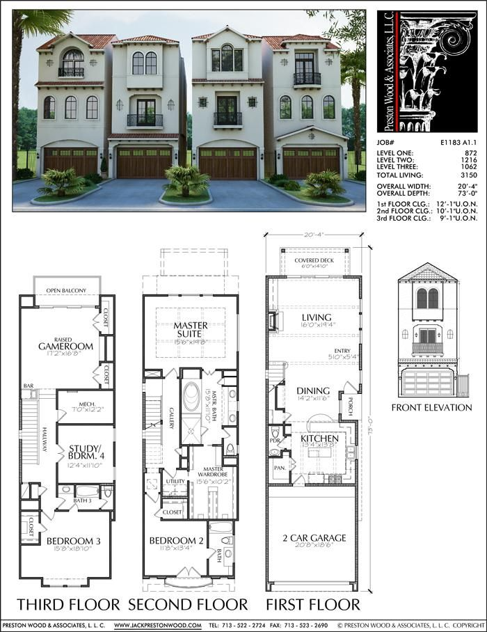 Designer Home Plans Townhome Design Luxury Town Home Floor Plans Du Preston Wood Associates Town House Plans House Plans Town House Floor Plan