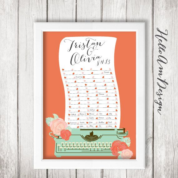 About This Wedding Guest Book Signature Featuring Vintage Typewriter Is