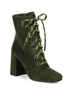 e018c3affb5 Prada - Suede Lace-Up Block-Heel Booties | Bootylicious | Lace up ...