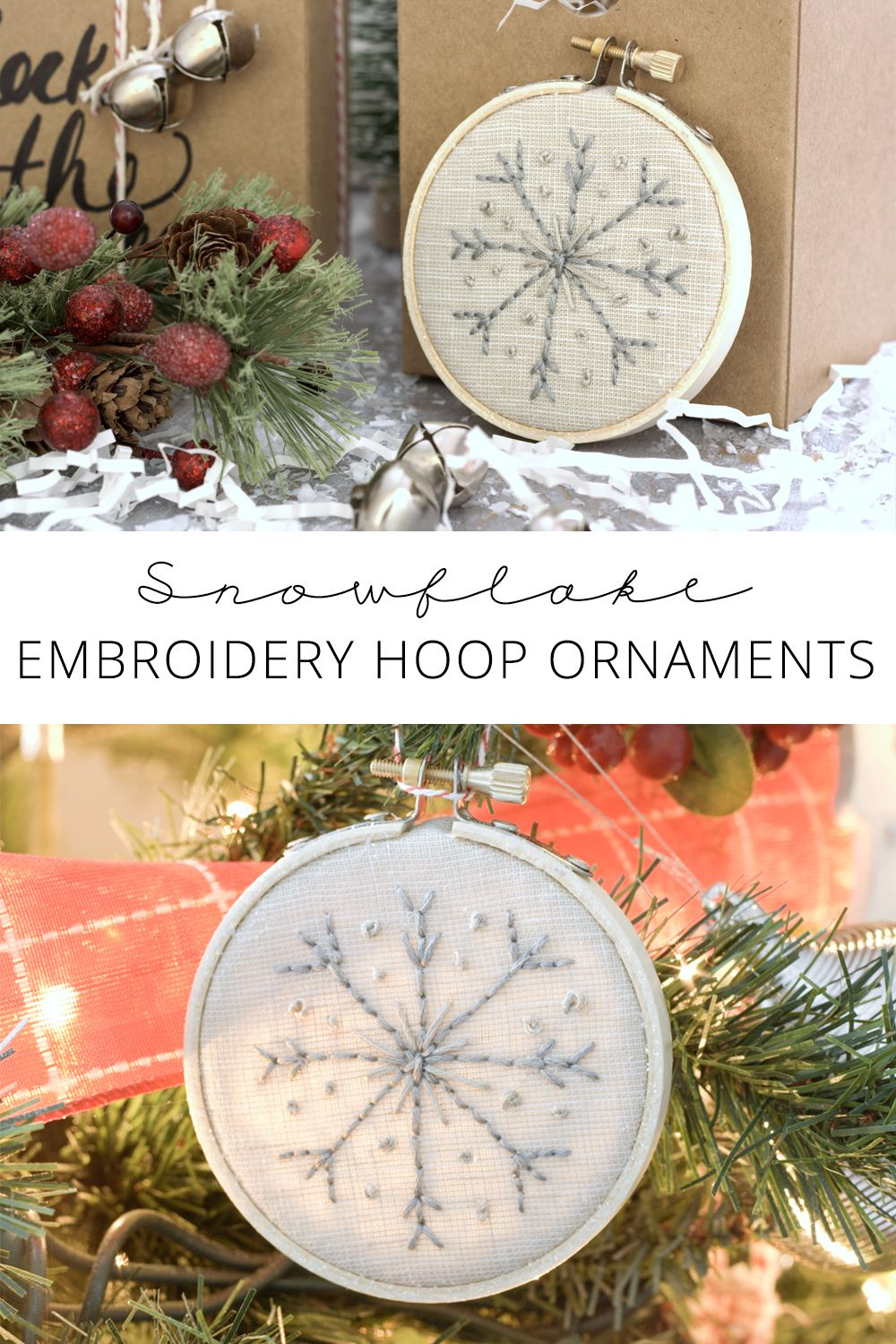 Make Your Own Snowflake Embroidery Hoop Ornaments | Embroidery ...
