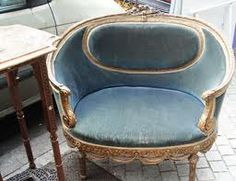 Bon Vintage Flea Market Find   Ornately Carved French Barrel Chair In Soft Blue  Velvet.