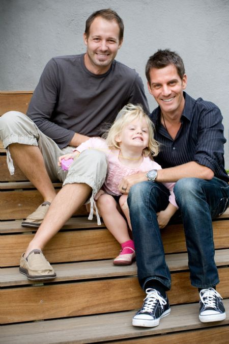 dale monchamp (left) and ryan brown with daughter, chloe brown