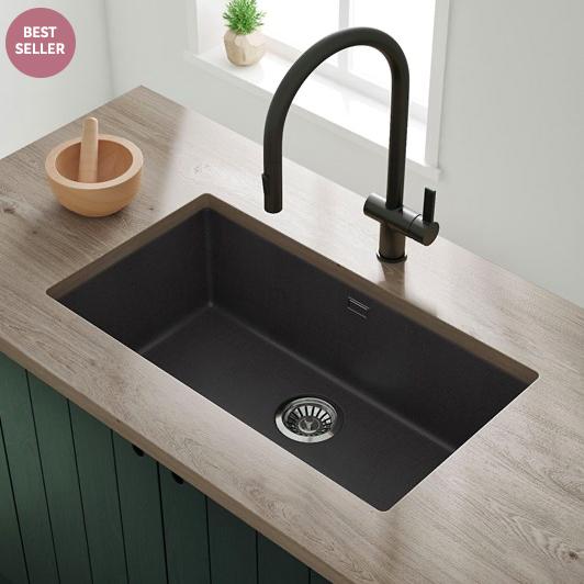 Vellamo Terra Extra Large 1 Bowl Granite Composite Undermount Kitchen Sink Waste Kit 774 X 434mm Undermount Kitchen Sinks Sink Granite Undermount Sink