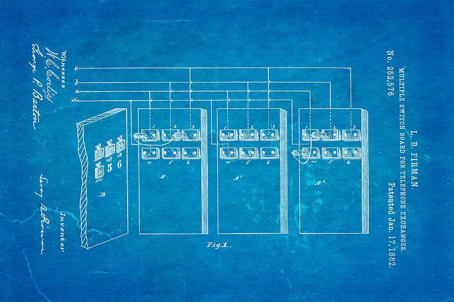 Firman telephone exchange patent art 1882 blueprint canvas print firman telephone exchange patent art 1882 blueprint canvas print canvas art by ian monk malvernweather Images