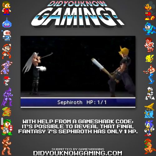 Did You Know Gaming Final Fantasy Final Fantasy Vii Final