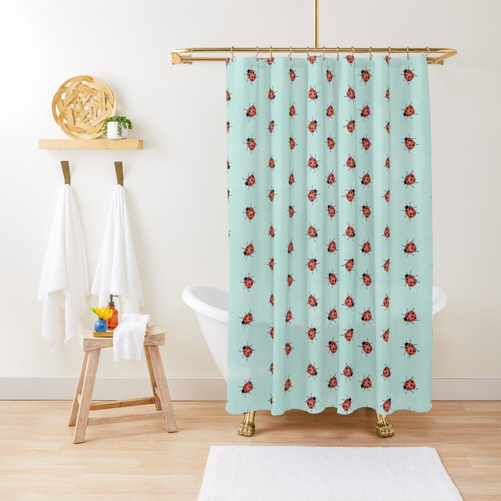 Cute Ladybug Shower Curtain Kids Bathroom Decor Cute Bathroom Decor Affiliate In 2020 Kid Bathroom Decor Patterned Shower Curtain Kids Curtains