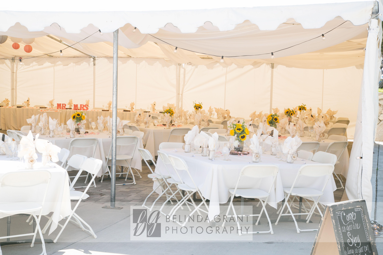 Summer tented wedding reception at wolf run golf club