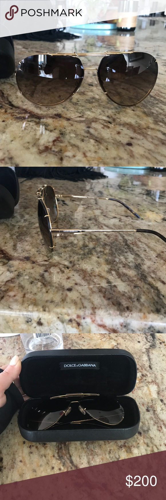 Dolce and gabanna sunglasses Dolce and Gabbana gold/Havana brown sunglasses. Lens size is 63mm. Worn once, good condition with case Dolce & Gabbana Accessories Glasses