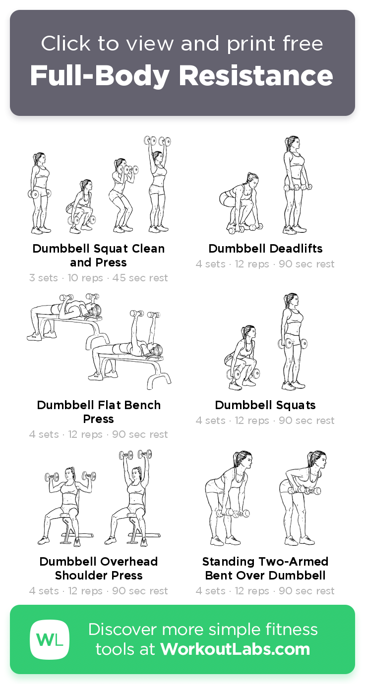 Full Body Resistance Click To View And Print This Illustrated Exercise Plan Created With Workoutlabsfit Workout Labs Full Body Workout Total Body Workout