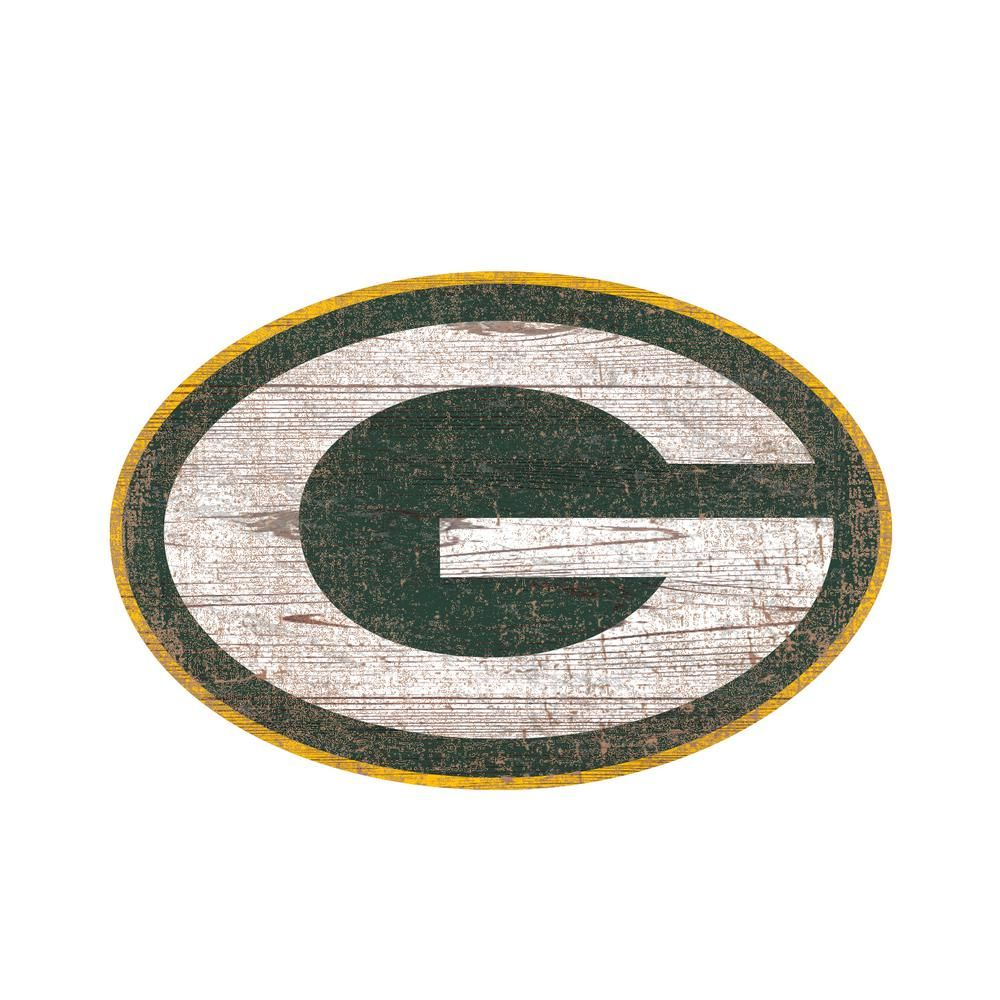 Adventure Furniture Nfl Indoor Green Bay Packers Distressed Logo Cutout Wood Sign N0843 Gbp The Home Depot In 2020 Logo Wall Green Bay Packers Fan Creations