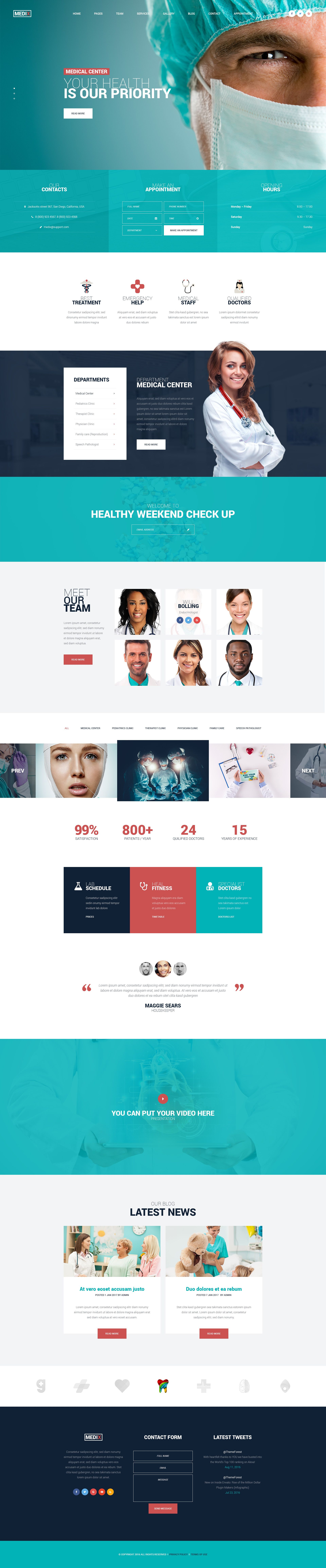 Medix - Medical Clinic PSD Template | Centro médico, Pagina web y ...