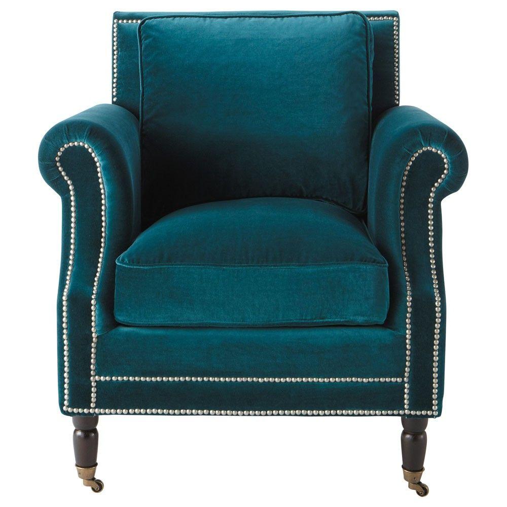 Velvet armchair in blue Dandy