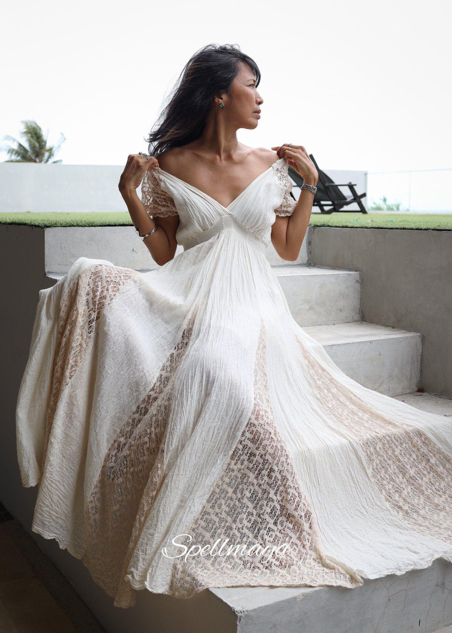 Boho Lace Maxi Dress Raw Cotton Gown Romantic Maxi White Etsy Boho Lace Maxi Dress Lace White Dress Lace Summer Dresses [ 2048 x 1463 Pixel ]