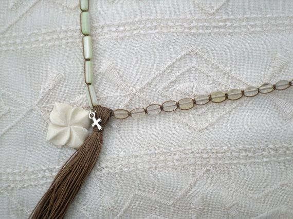 Cream and Glass Layering Bracelet by ShopElectricBuffalo on Etsy