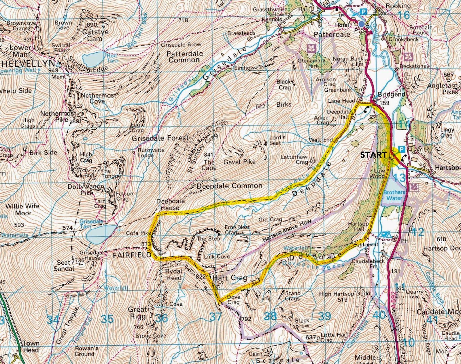 patterdale lake district map Fairfield Circular Walk From Patterdale Ullswater Lake District patterdale lake district map