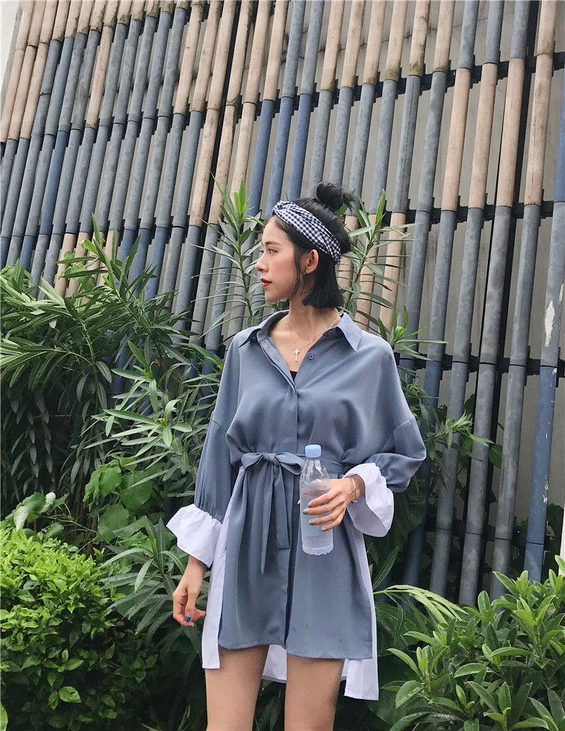 秋冬物 長袖切替ワンピース 韓国ファッション ワンピース ドレス ドレス 秋 ファッション