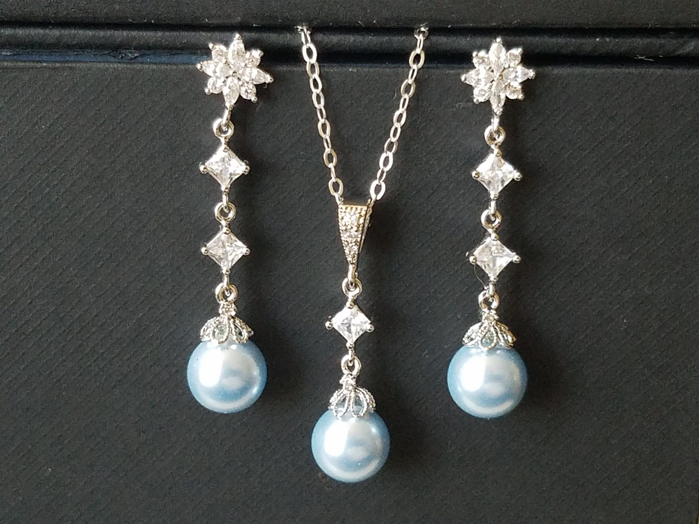 Blue Pearl Jewelry Set, Swarovski Light Blue Pearl