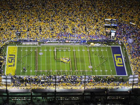 Louisiana State University Band Spells Lsu On The Field At Tiger Stadium Photo Allposters Com Lsu Louisiana State University Tiger Stadium