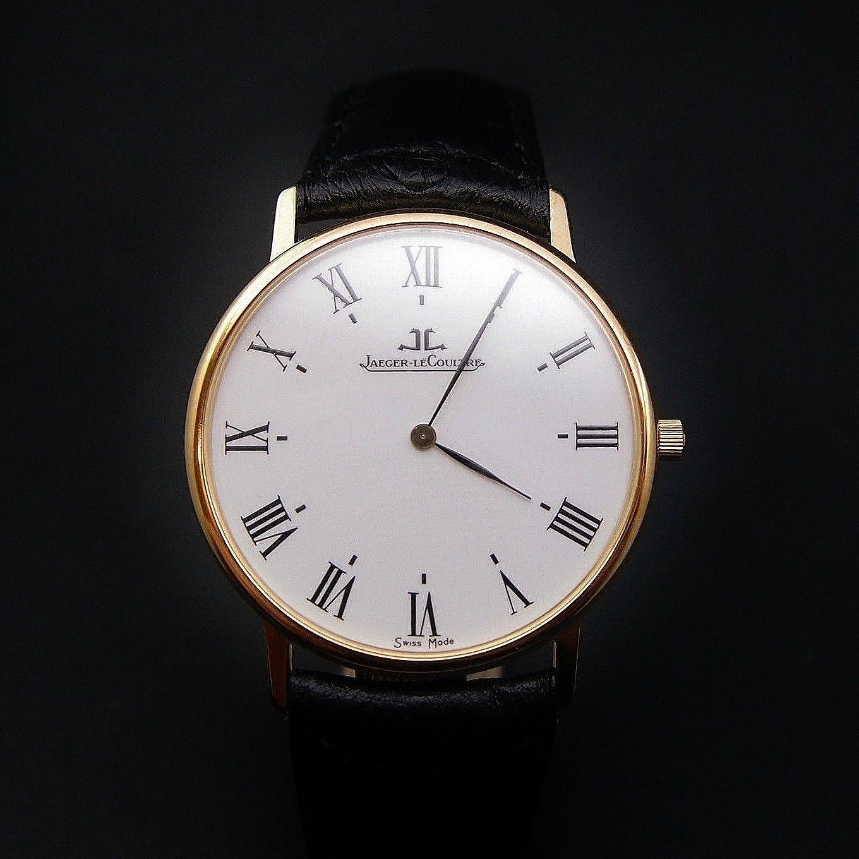 vendre 1450 montre jaeger lecoultre homme extraplate or jaune 18k quartz vers 1990 mod le. Black Bedroom Furniture Sets. Home Design Ideas