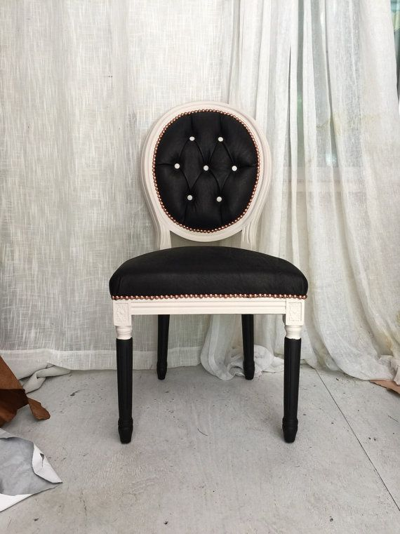 Leather Tufted Black And White French Louis XVI Dining Side Chair With Rose  Gold Accents Upholstered