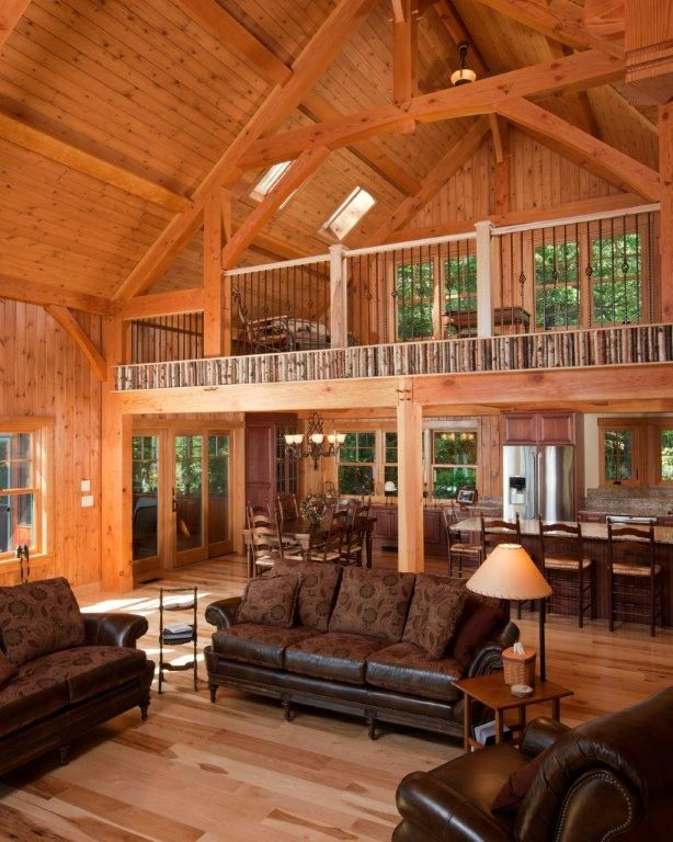 Post and beam barns living quarters pinterest for Open concept post and beam house plans