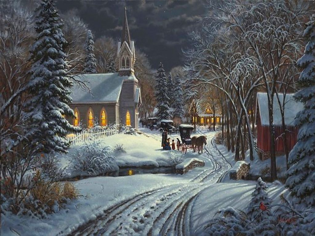 I love this cozy Christmas scene! The beautiful church and the ...