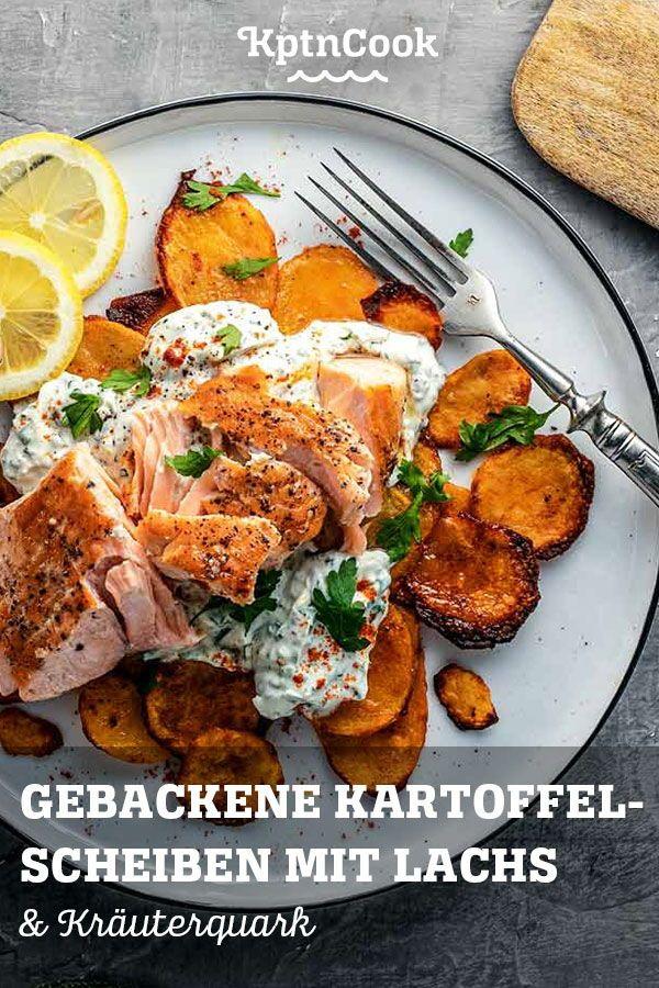 Gebackene Kartoffel-Scheiben mit Kräuterquark & Lachs