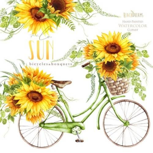 Buy Now Sunflower Watercolor Flower clipart vintage ...