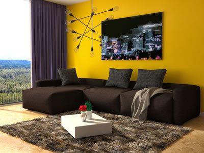 Wohnzimmer in der Trendfarbe 2016 - Gelb Sweet home Pinterest - wohnzimmer schwarz gelb