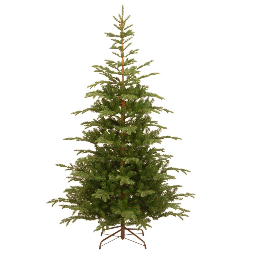 National Tree Company 7 1 2 Ft Feel Real Norwegian Spruce Hinged Artificial Christmas Tree Peng4 500 75 The Home Depot Slim Artificial Christmas Trees Spruce Christmas Tree Unlit Christmas Trees