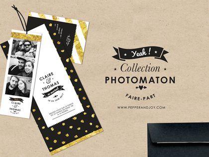 """Faire-part """"Photomaton"""", Pepper & Joy"""