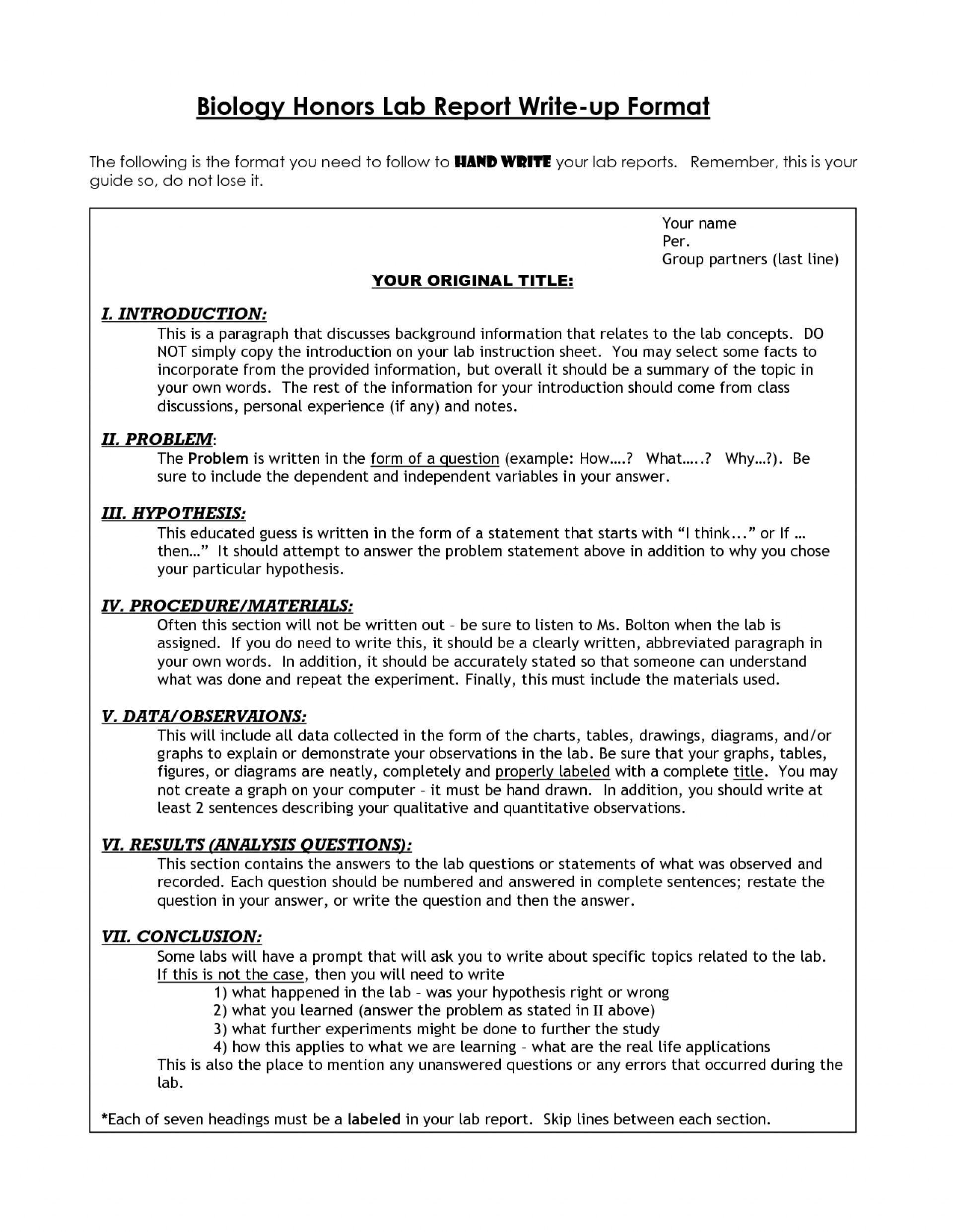 Awesome Biology Lab Report Template Ideas Format High