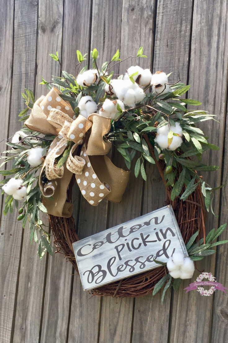Cotton Wreath, Farmhouse Style Cotton Wreath, Cotton Boll