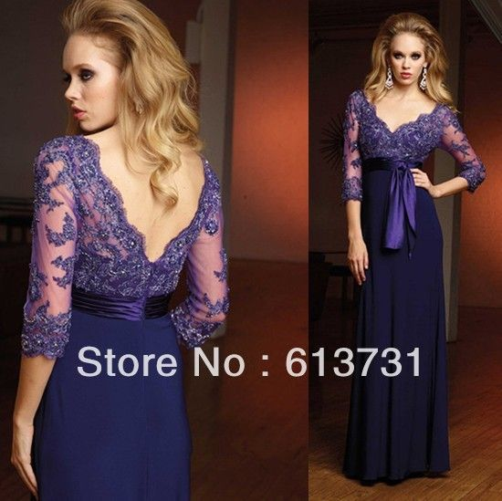 Free Shipping 2013 New Arrival v-neck purple chiffon long evening dresses Women with lace sleeves M1157 $129.80 easy to match, suit ofr every occassion