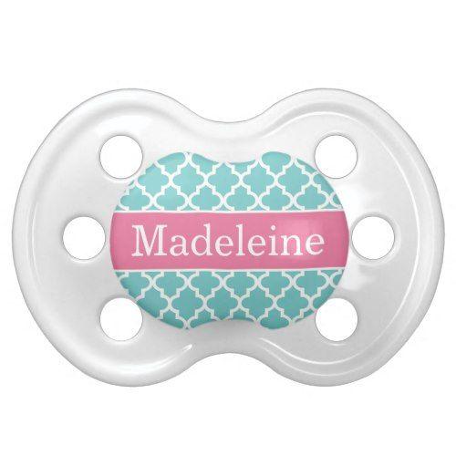 Baby Girl Monogram | Turquoise Modern Pattern Pacifier ...