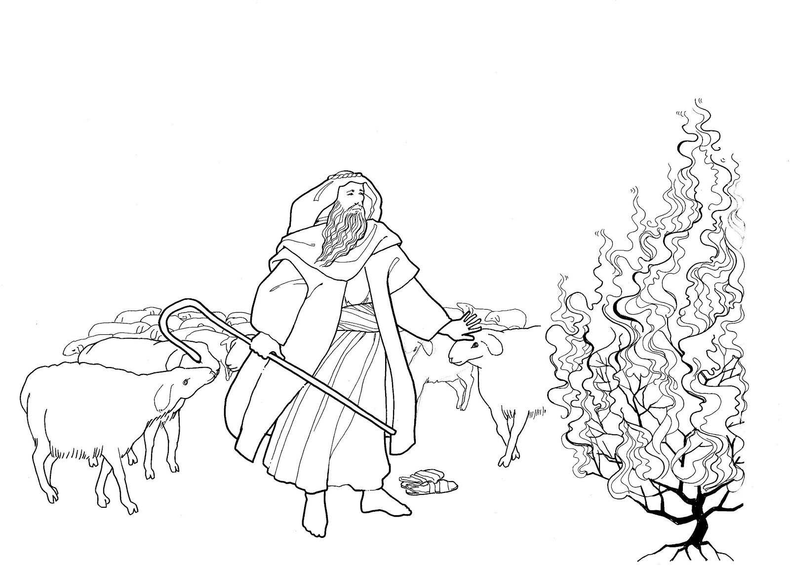 Moses And The Burning Bush Childrens Bible Activities Coloring Pages Burning Bush