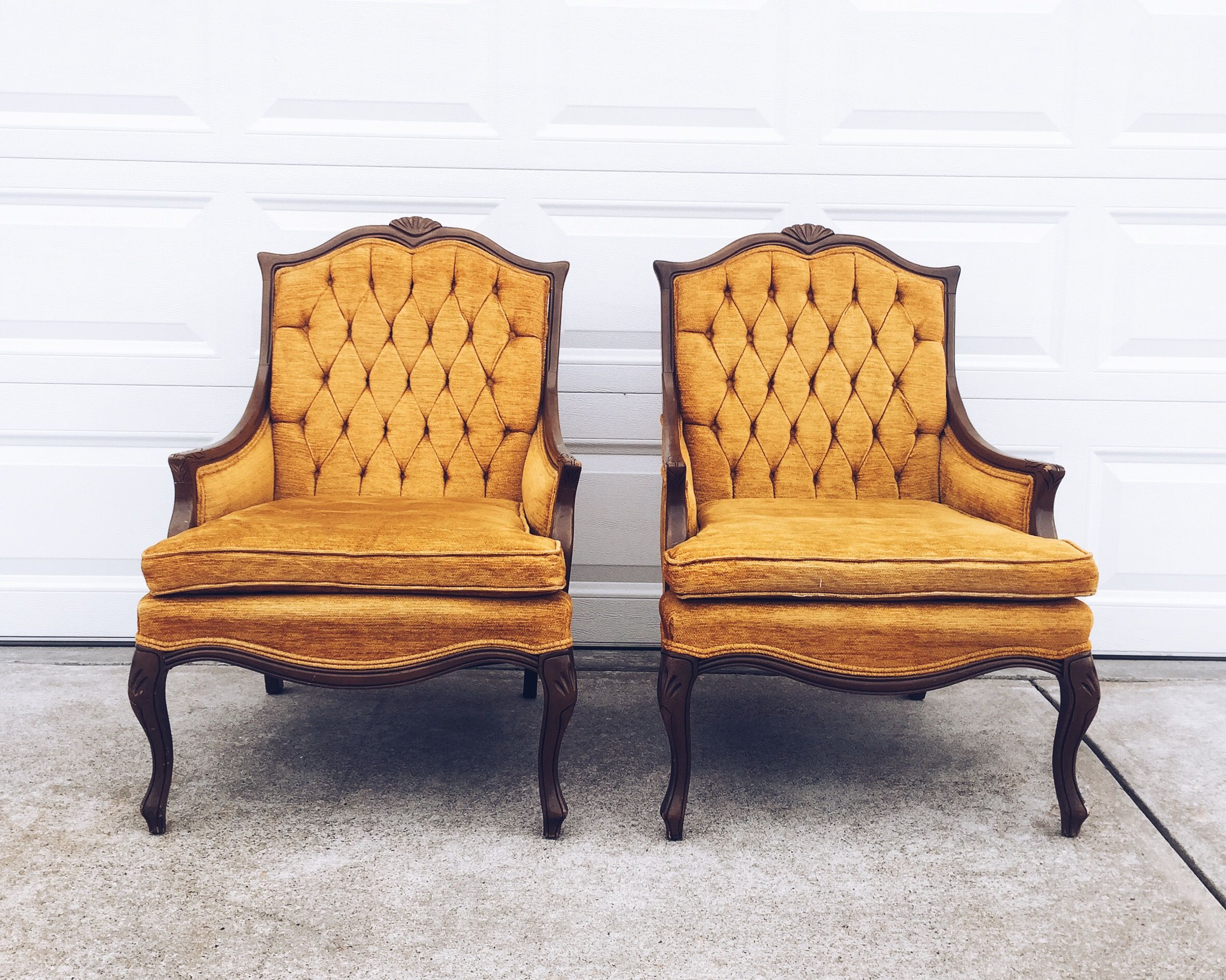 Pair of Statesville Armchairs, Statesville Chair Company, Tufted back, Mustard Accent Chairs, French Bergere Style, Solid Wood