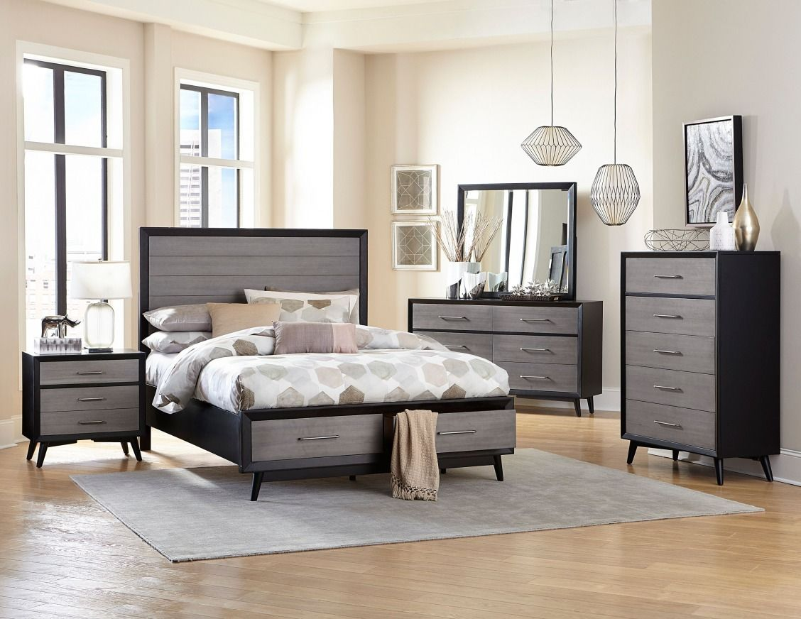 Black Contemporary Bedroom Set this grey & black contemporary bedroom set is new at rc willey