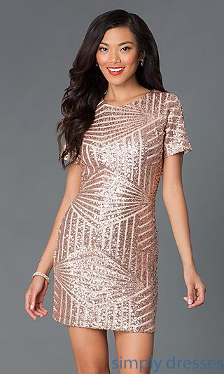 Short Sleeve Pink Sequin Party Dress | Sleeve, Pink sequin and ...