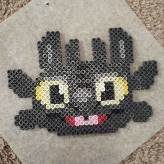 Toothless How to train your dragon perler beads by momop777