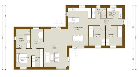 Spændende designhus på 165 m² med 4 værelser, og frit spil i indretningen. Se plantegning og få ...