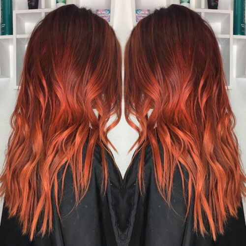 Neon Sunset Red Orange Hair Color