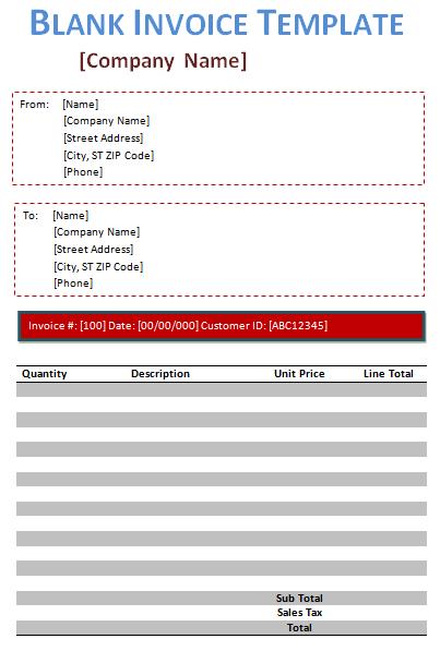 10 Blank Invoice Templates Word Excel Pdf Templates Invoice Template Word Invoice Template Printable Invoice