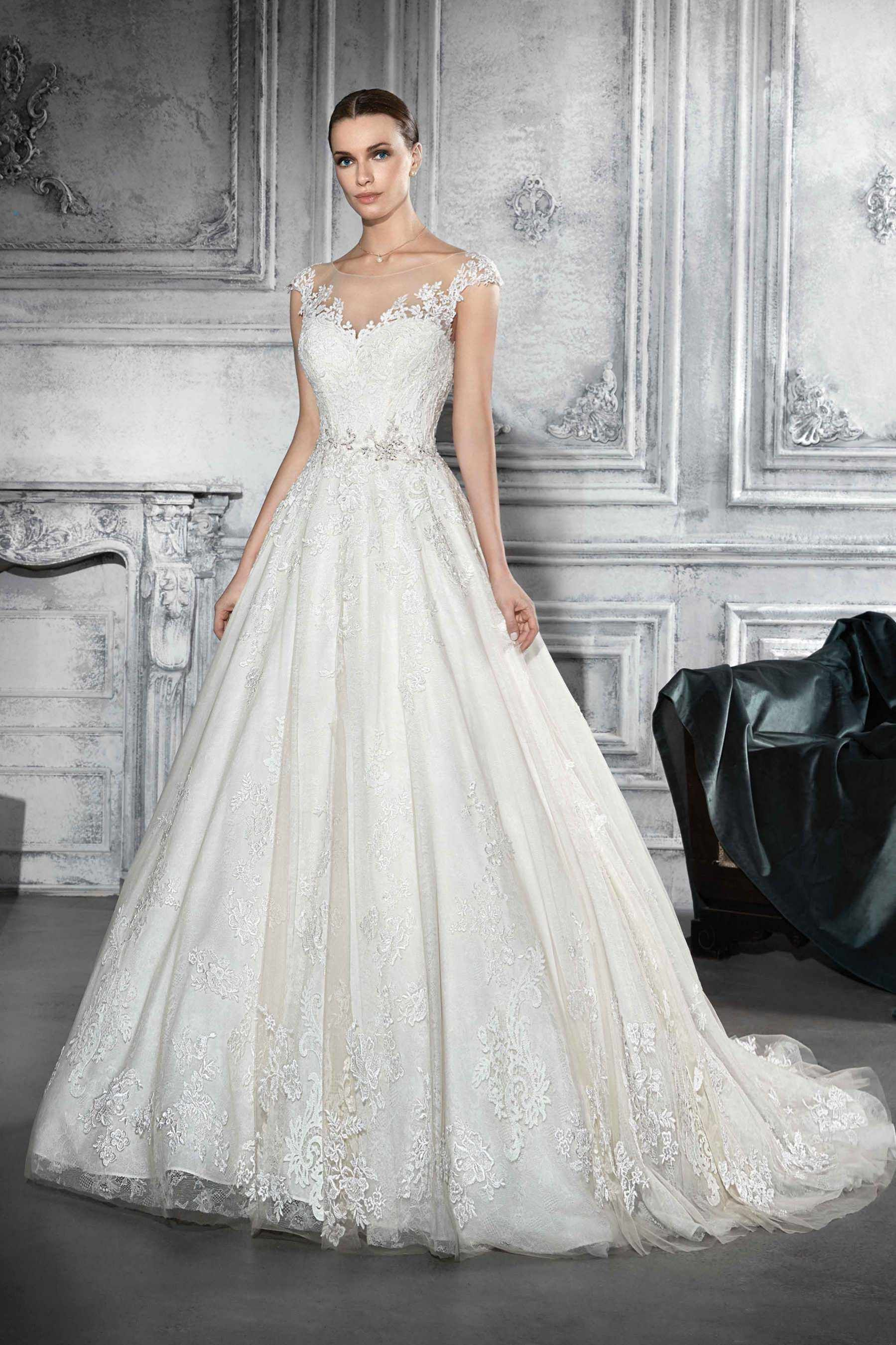 Demetrios Wedding Dress Style 747 Subtle Details Make For A Striking Gown The Illusion Neckline Sits So Delicately Acpanied By Lace Designs: Haute Couture Wedding Dress Sitting At Reisefeber.org