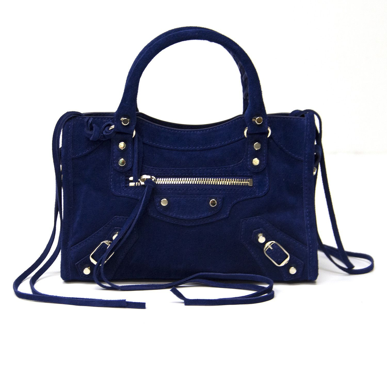 79fb551bee60 Balenciaga Blue Suede Mini City Handbag
