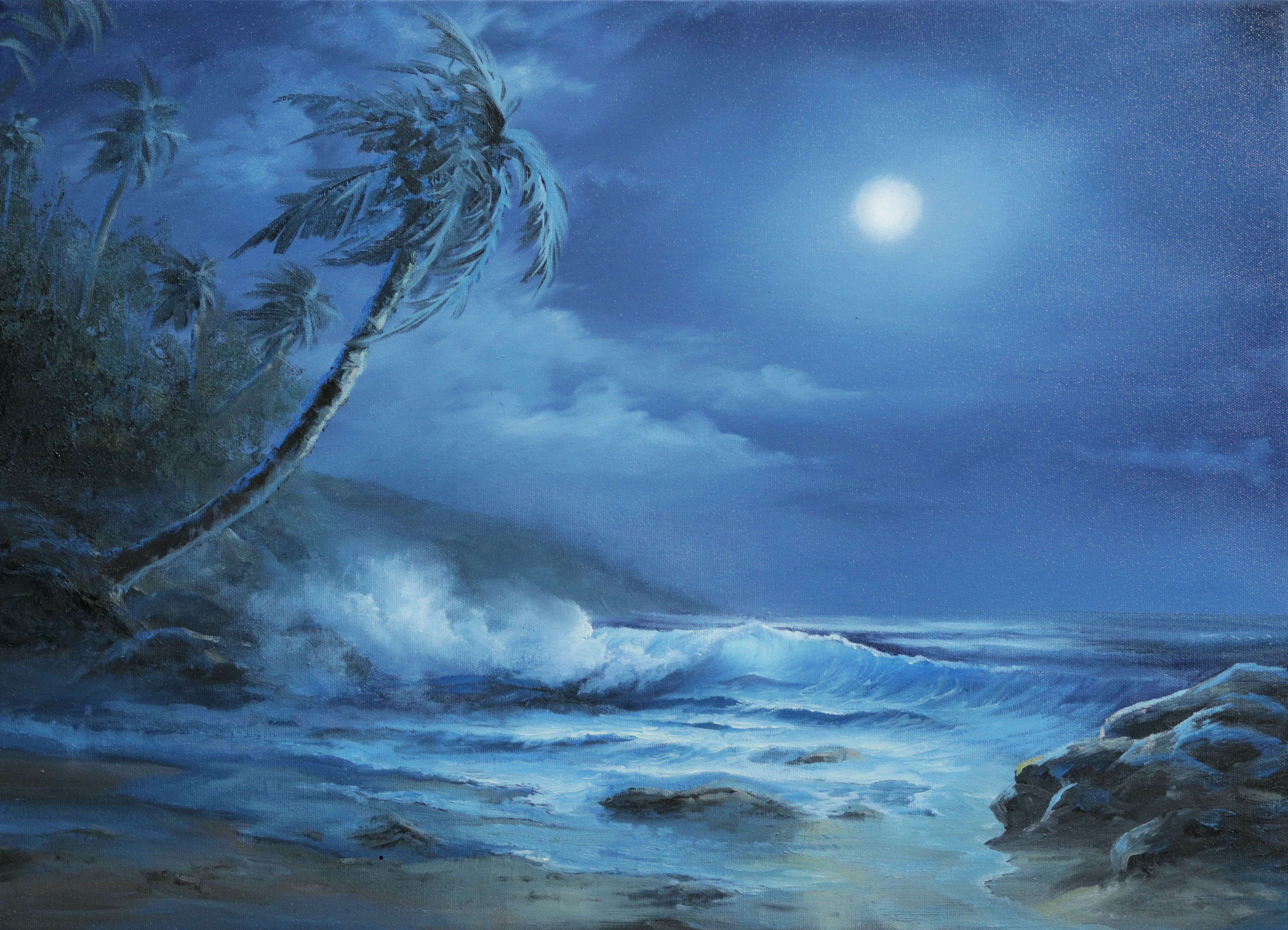 Bright Moonlit Ocean Paint With Kevin Kevin Hill Paintings Moonlight Painting Landscape Paintings