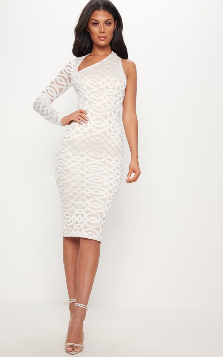 6a34ed0a88ff White One Shoulder Lace Midi Dress in 2019 | Diner En Blanc ...