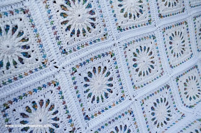 White Stained Glass Afghan Crochet Bedspread Afghan Crochet