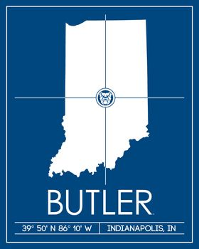 Butler University Map Wall Art Picture at Butler Photo Store