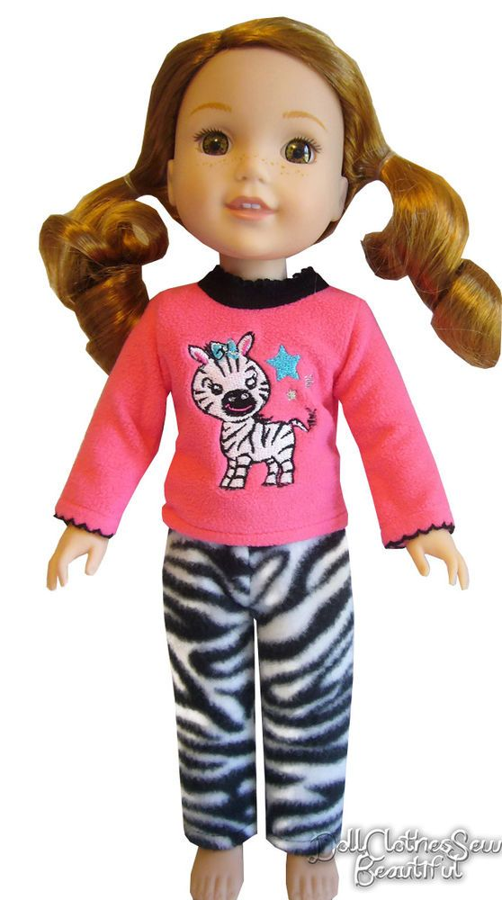Zebra Nightgown For Wellie Wisher Dolls